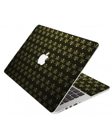 Jolly Roger On Leather Apple Macbook Pro 13 Retina A1502 Laptop Skin