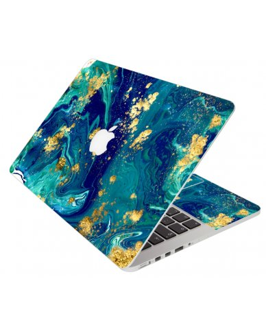Blue And Gold Marble Apple Macbook Pro 13 Retina A1502 Laptop Skin