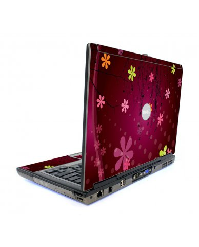 Retro Pink Flowers Dell D620 Laptop Skin