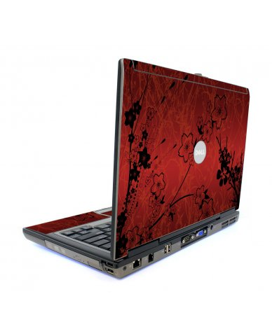 Retro Red Flowers Dell D620 Laptop Skin