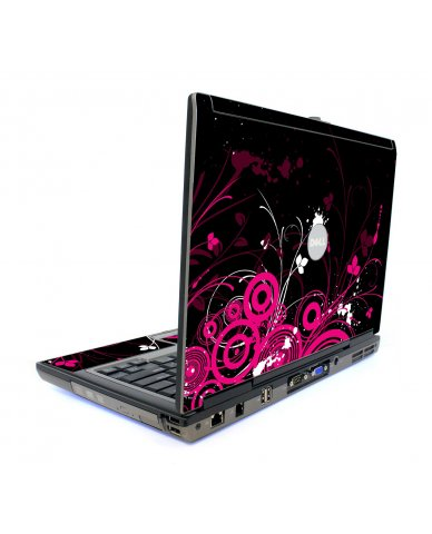 Black Pink Butterfly Dell D820 Laptop Skin