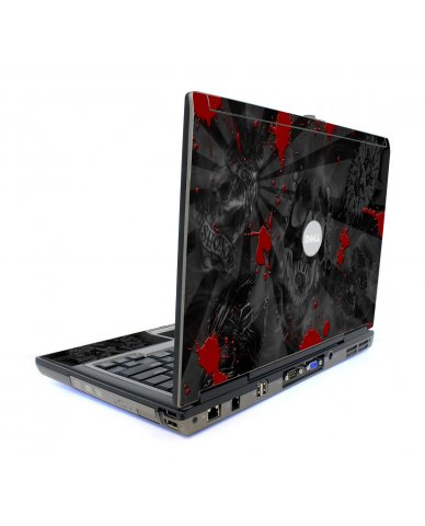 Black Skulls Red Dell D820 Laptop Skin