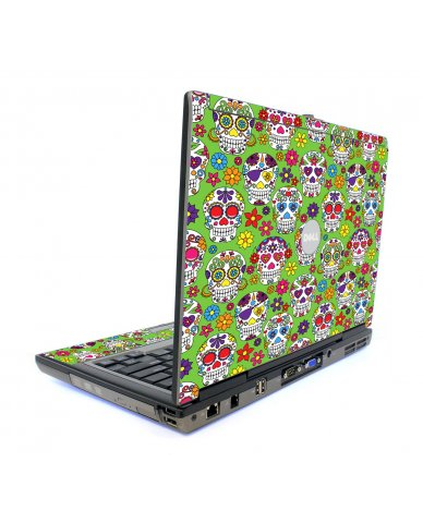 Green Sugar Skulls Dell D820 Laptop Skin