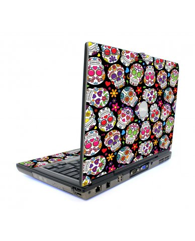 Sugar Skull Black Flowers Dell D820 Laptop Skin
