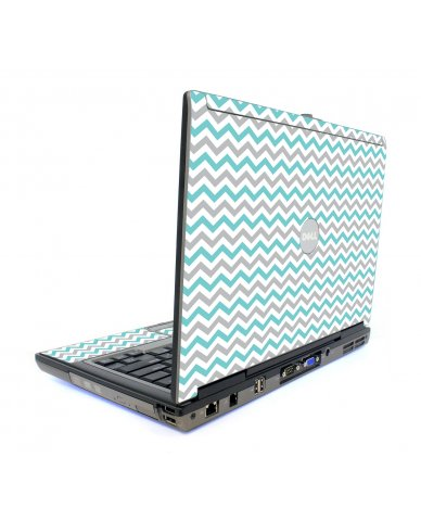 Teal Grey Chevron Waves Dell D820 Laptop Skin
