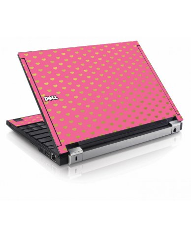 Pink Gold Hearts Dell E4200 Laptop Skin