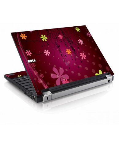 Retro Pink Flowers Dell E4200 Laptop Skin