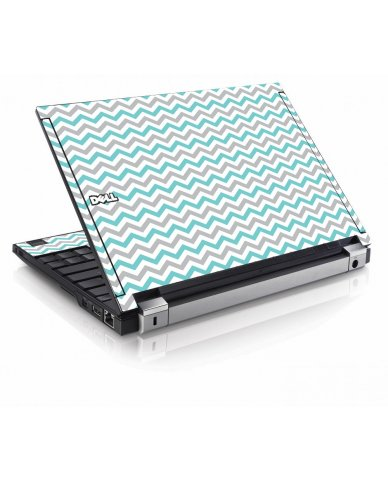 Teal Grey Chevron Waves Dell E4200 Laptop Skin