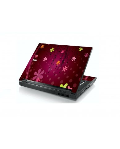 Retro Pink Flowers Dell E5400 Laptop Skin