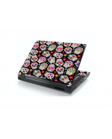 Sugar Skulls Black Flowers Dell E5400 Laptop Skin