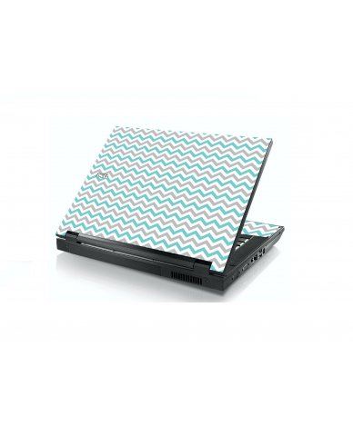 Teal Grey Chevron Waves Dell E5400 Laptop Skin