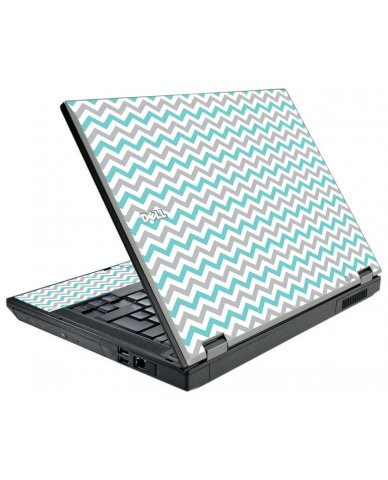 Teal Grey Chevron Waves Dell E5410 Laptop Skin