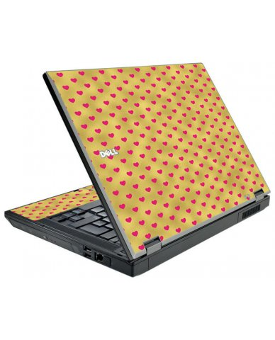 Gold Pink Hearts Dell E5500 Laptop Skin