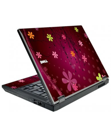 Retro Pink Flowers Dell E5510 Laptop Skin