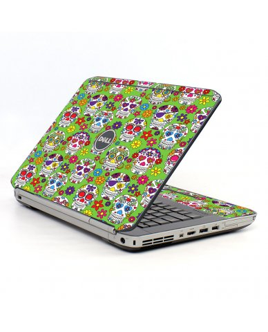 Green Sugar Skulls Dell E5520 Laptop Skin