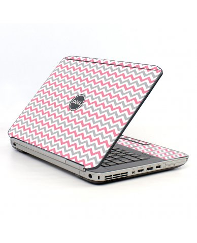 Pink Grey Chevron Waves Dell E5520 Laptop Skin