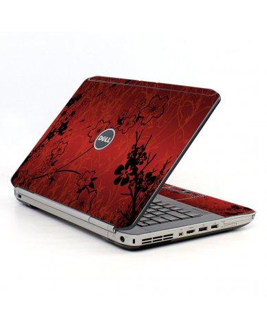 Retro Red Flowers Dell E5520 Laptop Skin