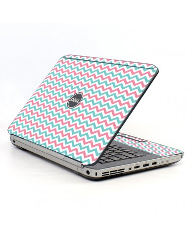 Pink Teal Chevron Waves Dell E5530 Laptop Skin