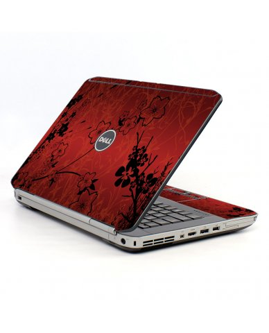 Retro Red Flowers Dell E5530 Laptop Skin