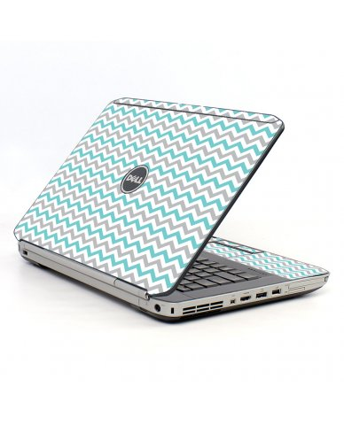 Teal Grey Chevron Waves Dell E5530 Laptop Skin