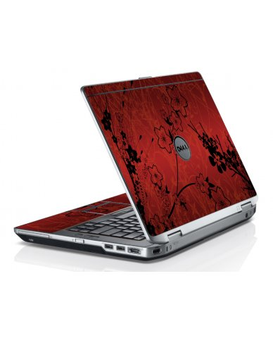 Retro Red Flowers Dell E6220 Laptop Skin