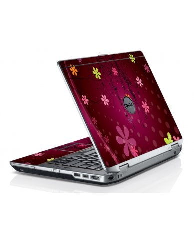 Retro Pink Flowers Dell E6320 Laptop Skin