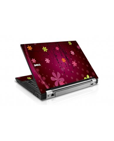 Retro Pink Flowers Dell E6400 Laptop Skin