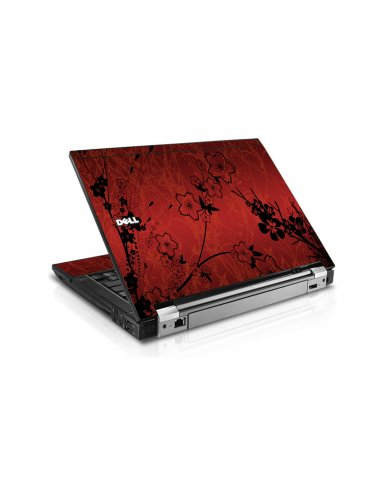Retro Red Flowers Dell E6400 Laptop Skin