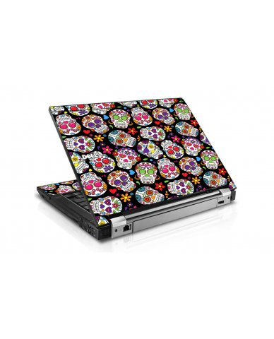 Sugar Skulls Black Flowers Dell E6400 Laptop Skin