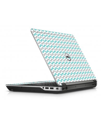 Teal Grey Chevron Wave Dell E6440 Laptop Skin