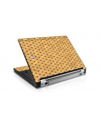 Gold Light Pink Hearts Dell E6500 Laptop Skin