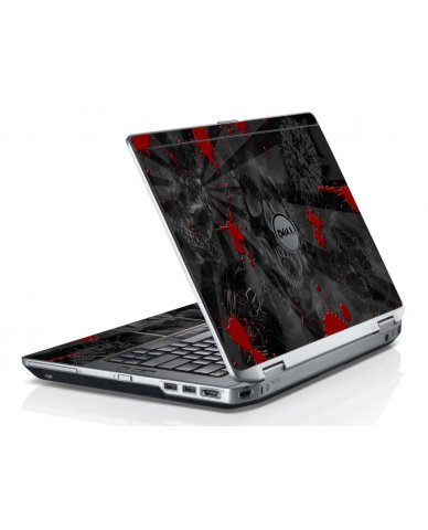 Black Skulls Red Dell E6520 Laptop Skin