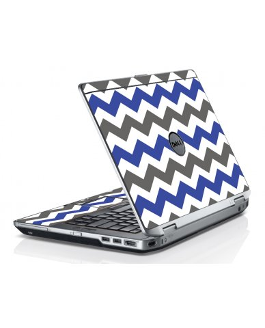 Grey Blue Chevron Dell E6520 Laptop Skin