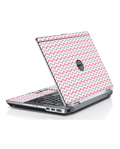 Pink Grey Chevron Waves Dell E6520 Laptop Skin
