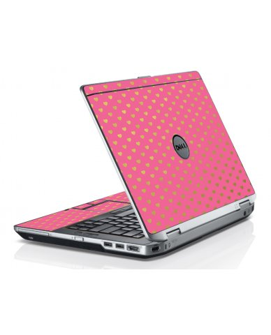 Pink With Gold Hearts Dell E6520 Laptop Skin