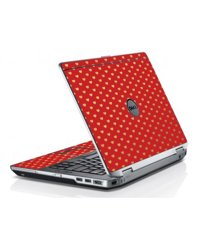 Red Gold Hearts Dell E6520 Laptop Skin