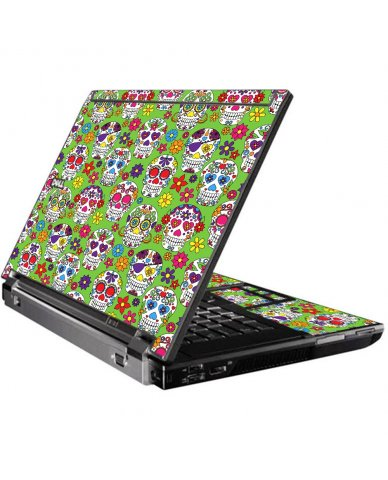 Green Sugar Skulls Dell M4400 Laptop Skin