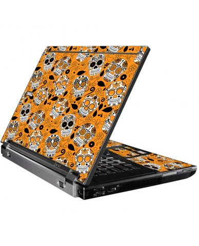 Orange Sugar Skulls Dell M4400 Laptop Skin