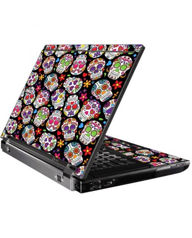 Sugar Skulls Black Flowers Dell M4400 Laptop Skin