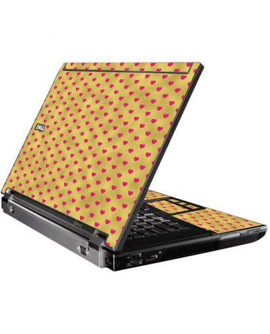 Gold Pink Hearts Dell M4500 Laptop Skin