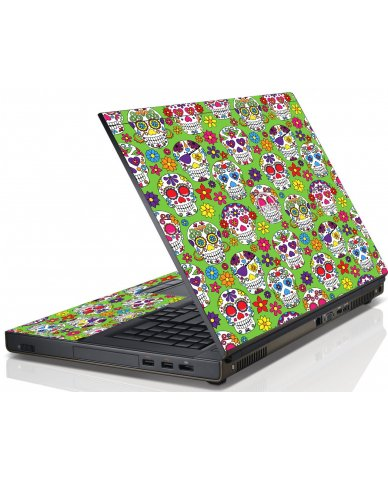Green Sugar Skulls Dell M4600 Laptop Skin