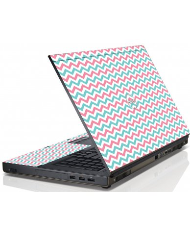 Pink Teal Chevron Waves Dell M4600 Laptop Skin