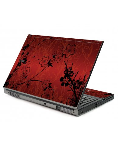 Retro Red Flowers Dell M6400 Laptop Skin