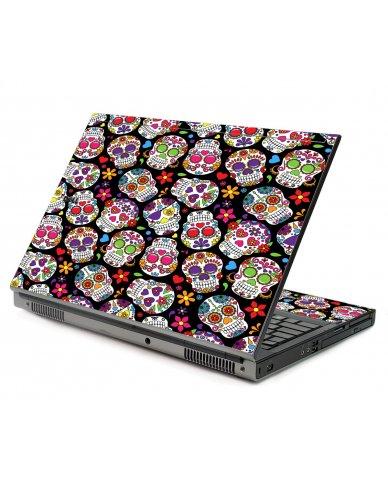 Sugar Skulls Black Flowers Dell M6400 Laptop Skin