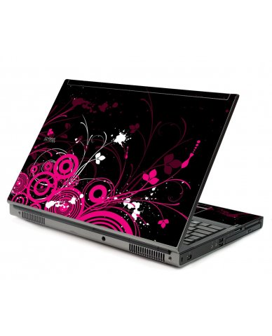Black Pink Butterfly Dell M6500 Laptop Skin