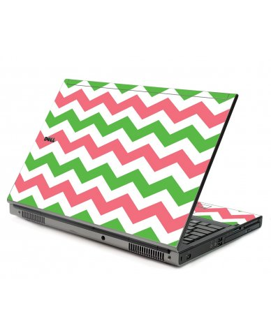 Green Pink Chevron Dell M6500 Laptop Skin