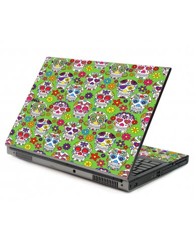 Green Sugar Skulls Dell M6500 Laptop Skin