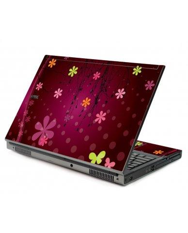 Retro Pink Flowers Dell M6500 Laptop Skin