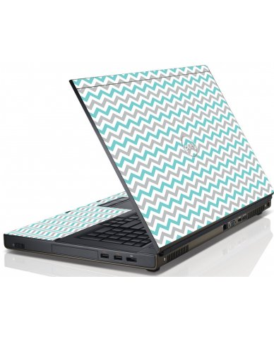 Teal Grey Chevron Waves Dell M6600 Laptop Skin