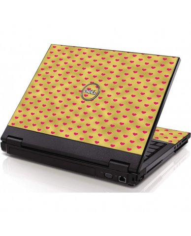 Gold Pink Hearts Dell 1320 Laptop Skin
